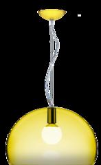 Luminario decorativo para suspension amarillo con pantalla semiesferica translucida base e26 25w 120v